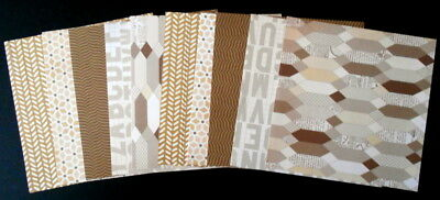"""NEUTRAL COLOURED PATTERTNED PAPERS - 15cm x 15cm (6""""x 6"""") Scrapbooking/Cards"""