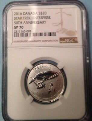 2016 1/4 Oz Canada $20 Silver Star Trek Enterprise Ngc Sp70 First Releases