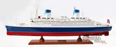 "32"" SS Norway Ocean Liner Handmade Wooden Ship Model"