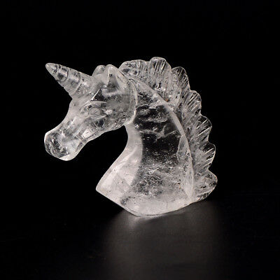Natural Clear Quartz Crystal Unicorn Specimen Hand Carved Horse Head Figurine