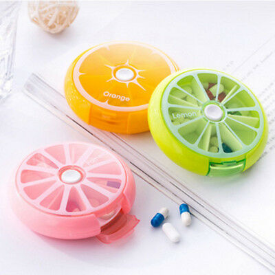 1PC Pill Box Am Pm Weekly 7 Day Organizer Travel Dispenser Round Case Candy