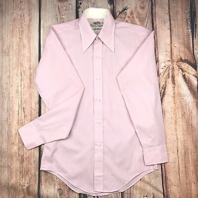 Vintage Retro 1960s Fruit of The Loom Pink Men's Button Down Shirt