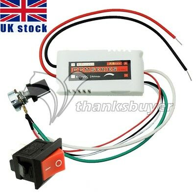 DC12V PWM Motor Speed Control Controllor For Fan Pump Oven with Switch UK