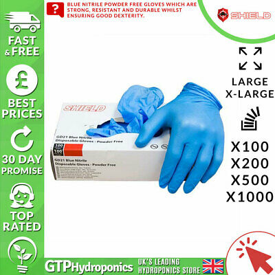 Shield Powder-Free Blue Nitrile Disposable Gloves GD21 - L/XL - 100/200/500/1000