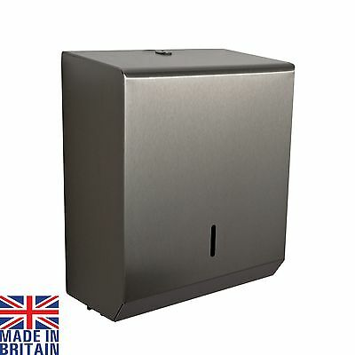 Hand Paper Towel Dispenser Brushed Polished Steel White Metal C Fold Multifold