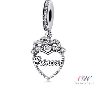Princess Heart Crystal Pendant Charm  925 Silver for Charm Bracelet 💞