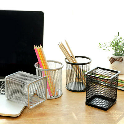 Metal Mesh Design Pen Pencil Holder Container Case Home Office Stationery Faddis