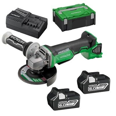 "Hitachi 18V 6.0Ah Li-Ion Brushless Cordless Slide 5"" (125Mm) Angle Grinder Combo"