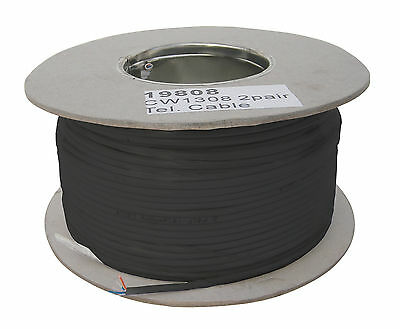 2 Pair Black Telephone Cable (4 Core) - FULL 200m DRUM! Top Spec Trade BT Cable