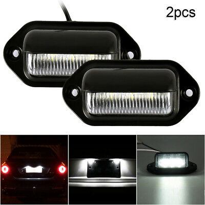 2x Universal 6 LED License Number Plate Light Lamps for Truck SUV Trailer Lorry