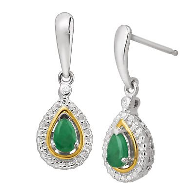 8584e0320 3/8 ct Natural Emerald Drop Earrings with Diamonds in Silver & 14K Gold