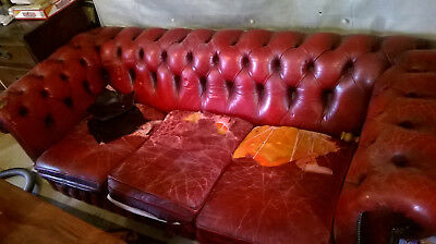 Vintage Style Chesterfield Leather Sofa (Oxblood Red)   3/4 Seater