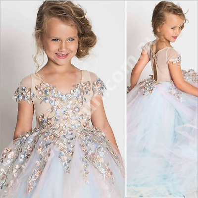 New Style Girls Kids Formal Dress Princess Lace Wedding Handmade Pearl 2 to 11yr