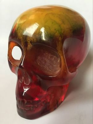 11.5 Collectible Decorate Handwork Old Burmese amber carving skull statue color