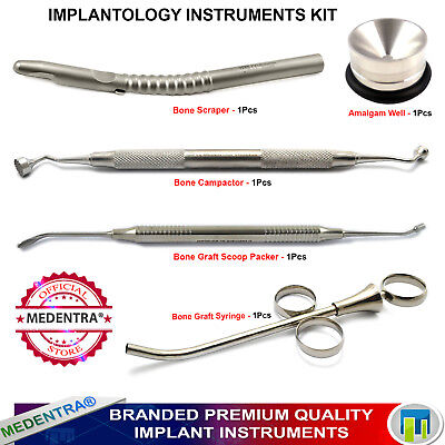 5Pcs Dental Implant Bone Grafting Syringe, Compactor, Amalgam Well, Packer Kit