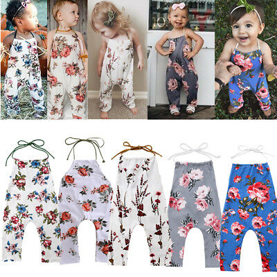 Toddler Newborn Kids Baby Girls Flower Romper Jumpsuit Bodysuit Outfits Clothes