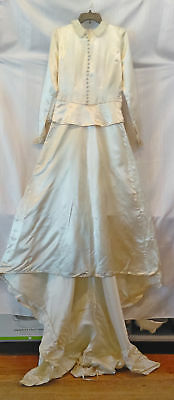 c1920 vintage off white satin wedding gown, dress w/ bow, lace, covered buttons