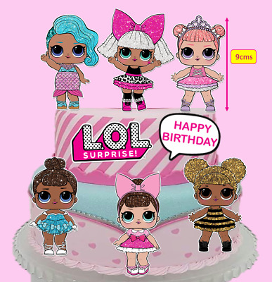 Glitter LOL Dolls & Logo Edible Wafer PRE-CUT Cake Cupcake Toppers Images #225