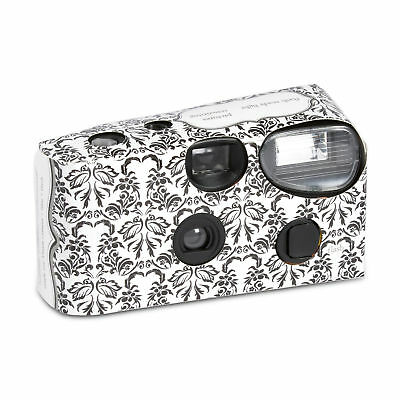 Disposable Cameras with Flash Black and White Damask Design Party