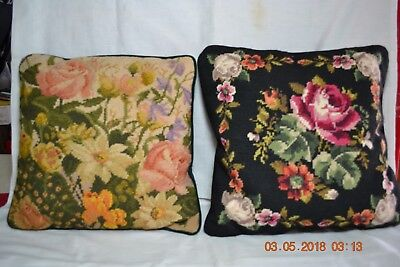 Two Vintage Hand Made Needlepoint Petitepoint Floral Accent Throw Pillows