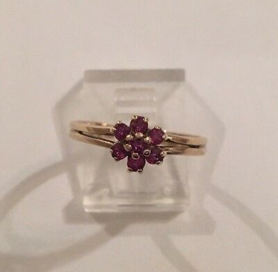 Vintage Antique 10K Yellow Gold Cluster Red Ruby Flower Floral Ring