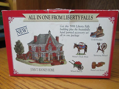 Liberty Falls All In One ~ John T Boone's Home With Figurines ~ MIB