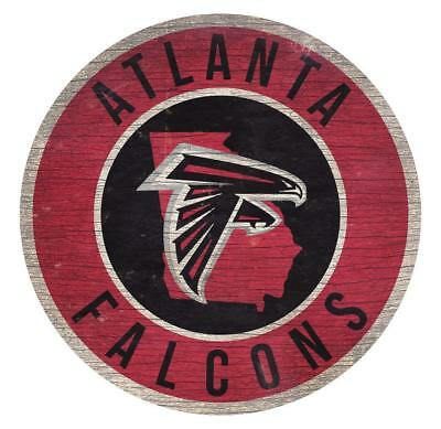 Atlanta Falcons 12 Inch Wood Sign Round State Design  [NEW] NFL Cave Wall