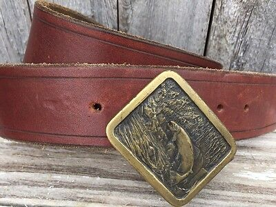 1977 Vintage Trout Brass  Belt Buckle With Brown Leather Belt