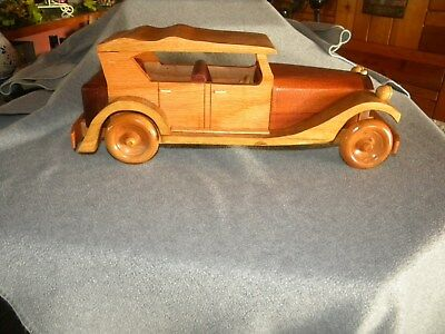 "Vintage Collectible WOODEN Old Model Car WOOD 12 "" X 4.5 high Nice"