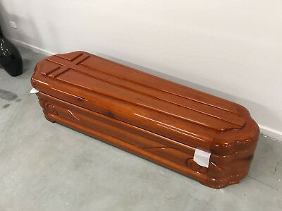 NEW Hand Carved Mahogany Lazos Burial Coffin Casket RRP-$4,735 FREIGHT AVAILABLE