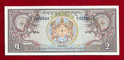 1981 (ND) Bhutan 2 Ngultrum Note, P-6