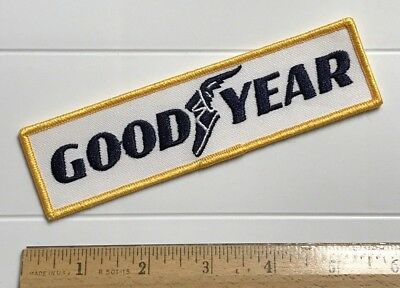 """NOS Goodyear Rubber Tires Blue White Yellow Embroidered 5.75"""" Long Patch"""