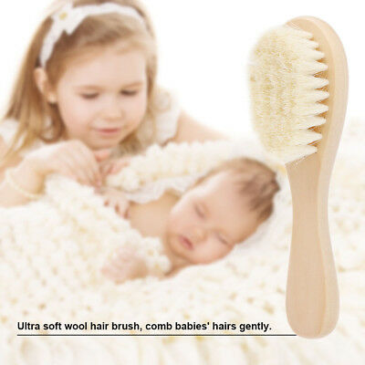 Wooden Hair Brush Baby Kid Toddler Infant Laser Shower Handle Soft Bristles Gift