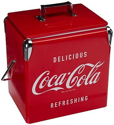 Vintage Beverage Cooler Ice Box Tin Lunch Box 8 Gallon Red Metal Coke Coca Cola