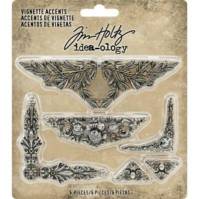 Tim Holtz Idea-Ology - Vignette Accents - Ornate - 6 Metal Pieces - NEW!