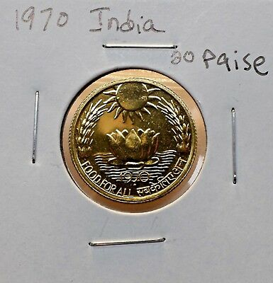 1970 India 20 Paise Coin Fao In Uncirculated Condition
