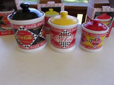 Set of 3 Coca Cola 1995 Canisters~Branded by Coca-Cola Co.~New