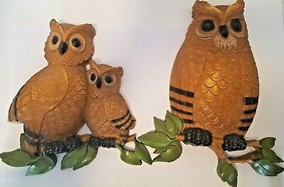 Vintage 70s Retro Hard Plastic Owl Owls Wall Hanging Art Kitchen Decor Set of 2