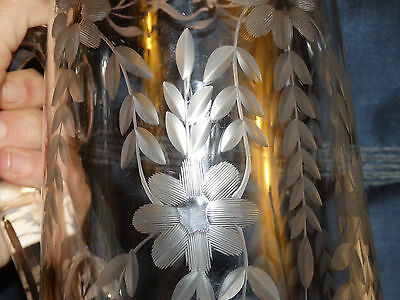 Vint/Antiqe PAIRPOINT? Cut Glass Pitcher Deep Flower Etched Design w/Silver Trim