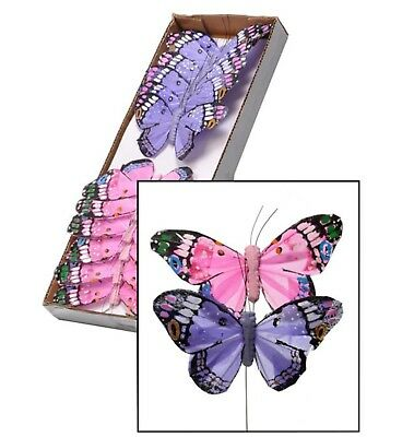 FEATHER BUTTERFLY ON WIRE PINK//CERISE 12 X 11cm NEW Wholesale Offer