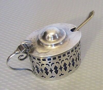 antique STERLING SILVER MUSTARD POT & SPOON cobalt glass liner hinged lid jar