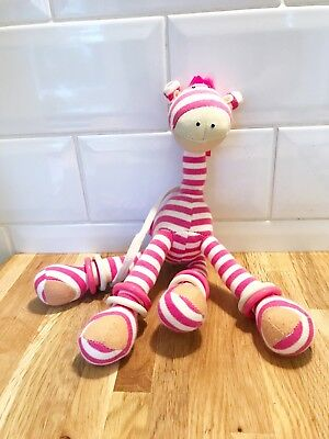 Jelly Cat Jelly Kitten Hanging Striped Giraffe Toy Baby Cot pink and white. Hoop