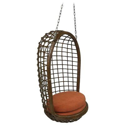 Mid Century Woven Rattan Hanging Egg Chair