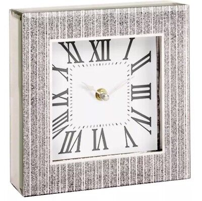 Silver Glitter Frame Bling Contemporary Mantle Clock Glass Table Square Gift