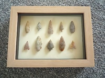 Neolithic Arrowheads in 3D Picture Frame, Authentic Artifacts 4000BC (0784)