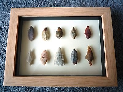 Neolithic Arrowheads in 3D Picture Frame, Authentic Artifacts 4000BC (0861)