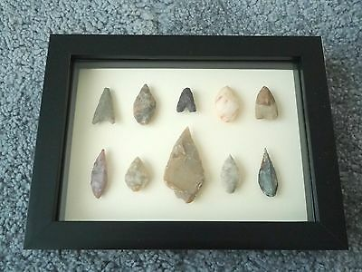 Neolithic Arrowheads in 3D Picture Frame, Authentic Artifacts 4000BC (0434)