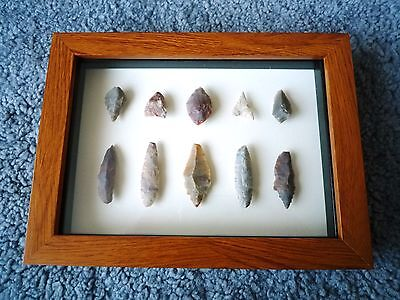 Neolithic Arrowheads in 3D Picture Frame, Authentic Artifacts 4000BC (0894)