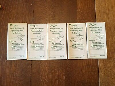 5 Carr Lane Handy Multiplier & Trigonometry Tables for Engineers Booklets 1991