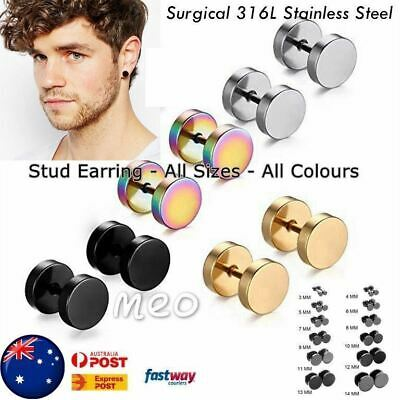 Men's  Earring Stud Unisex Plugs Stainless Steel Ear Studs Piercing AUS Jeweller
